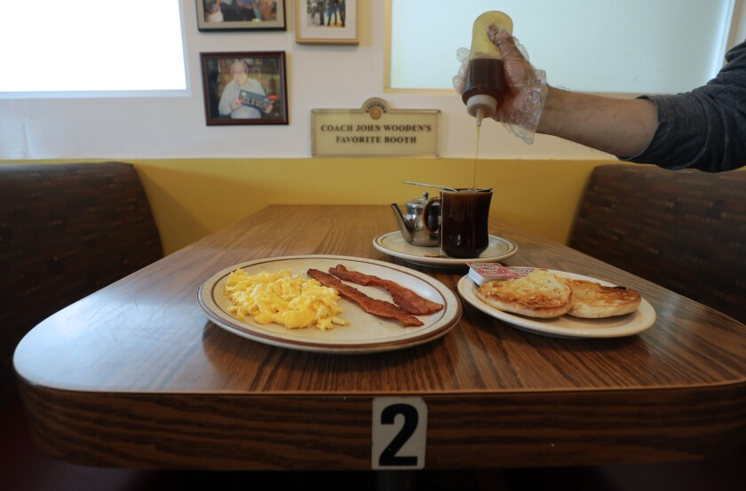 John Wooden's favorite booth and breakfast plate at VIP's Cafe.
