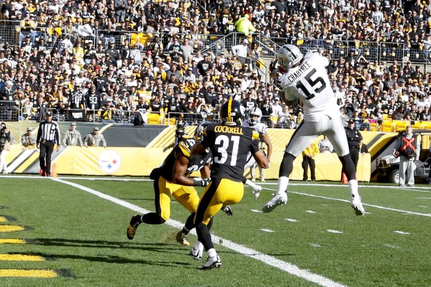Oakland Raiders wide receiver Michael Crabtree (15) makes a touchdown catch in front of Pittsburgh Steelers defensive back Ross Cockrell (31) and free safety Mike Mitchell (23) in the first quarter of an NFL football game, Sunday, Nov. 8, 2015, in Pittsburgh. (AP Photo/Gene Puskar)