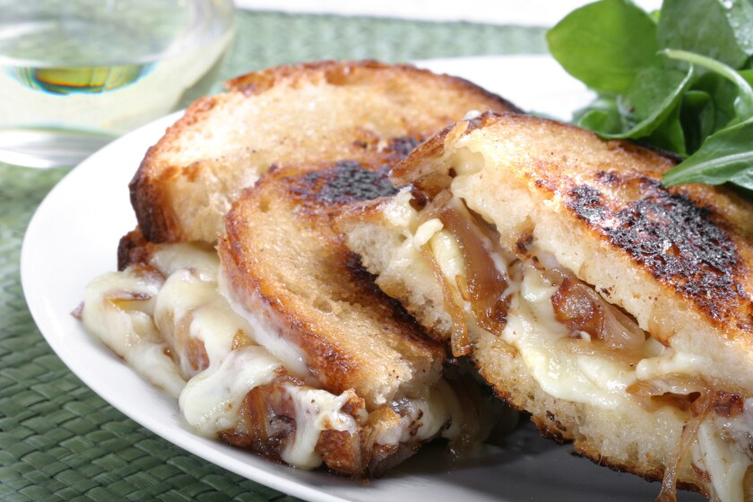 Ooey gooey goodness. Recipe: Lucques' Grilled Cheese with Cantal and roasted shallots