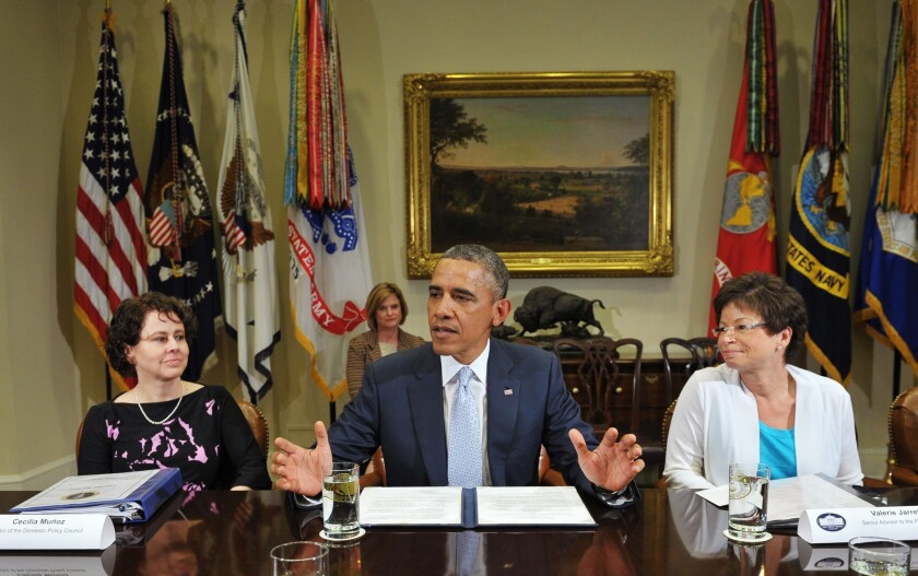 President Obama is seen meeting with business leaders on immigration reform in the Roosevelt Room of the White House.