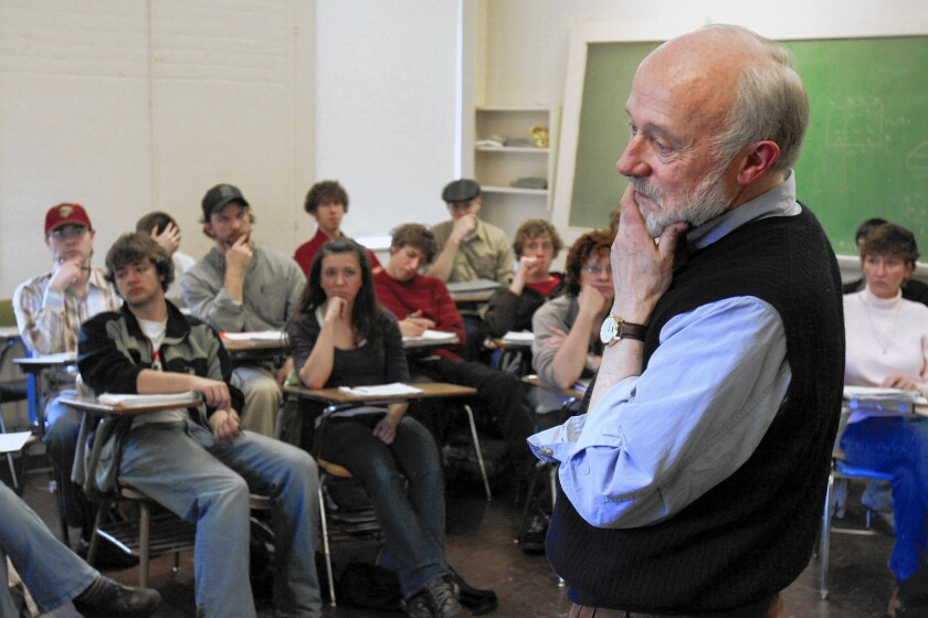 Marcus Borg listens to a student in 2007 in a class at Oregon State University, where he was a professor of religion and culture for 28 years.