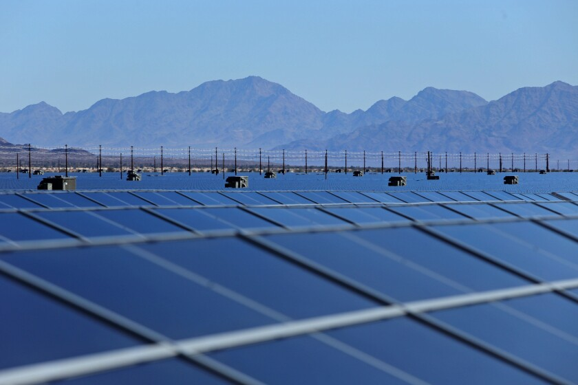 A solar farm in Desert Center. A state Senate bill would require California to get 50% of its electricity from renewable sources by 2030.