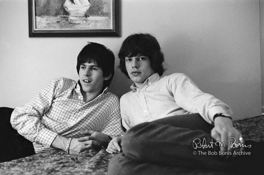 Keith Richards, left, and Mick Jagger of the Rolling Stones photographed by tour manager Bob Bonis in their room at a Los Angeles motel during their 1965 U.S. tour.