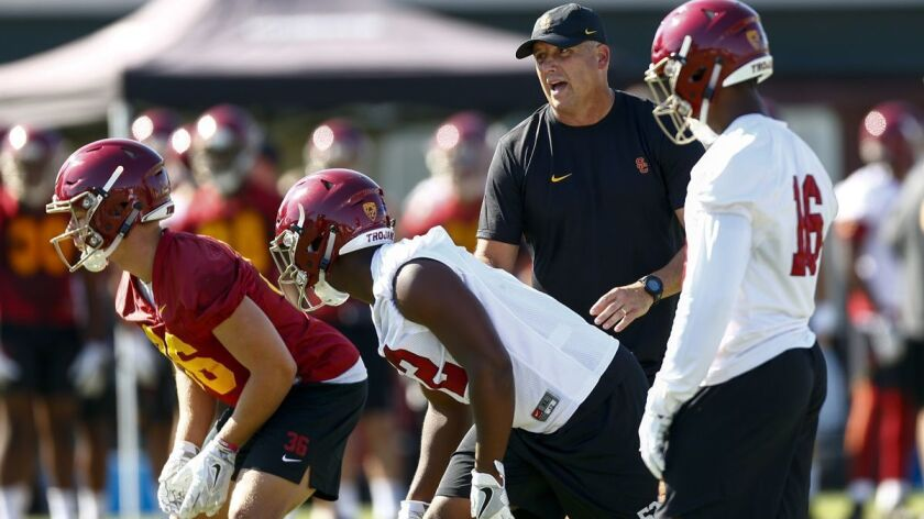 LOS ANGELES, CALIF. - AUGUST 03: USC Trojans head coach Clay Helton, on the field, as the USC Trojan