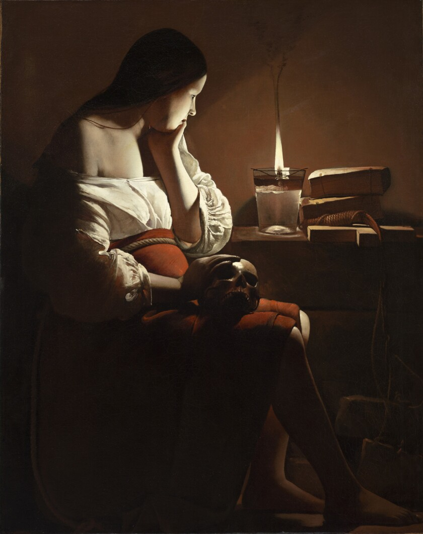 """LACMA's signature European painting, Georges de La Tour's """"The Magdalen With the Smoking Flame,"""" was a 1977 gift of the Ahmanson Foundation."""