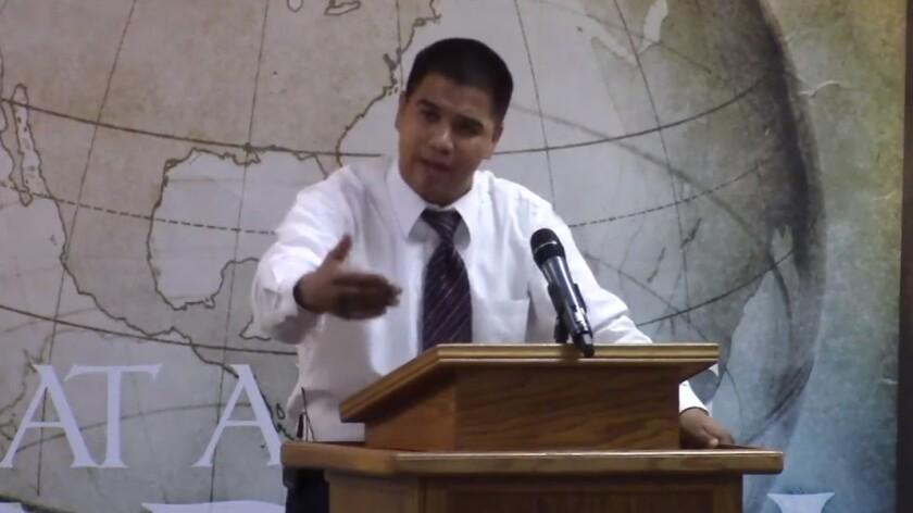 Pastor Roger Jimenez of Verity Baptist Church delivers a sermon.