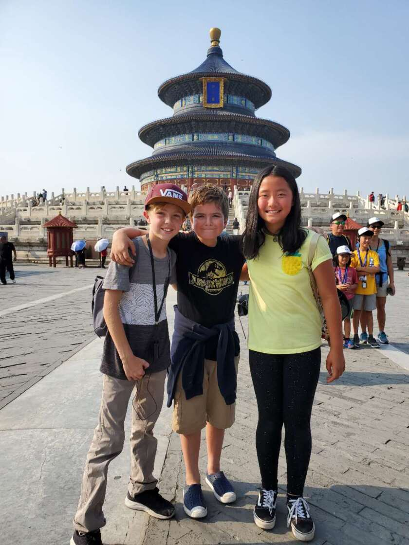 Three friends at the Temple of Heaven