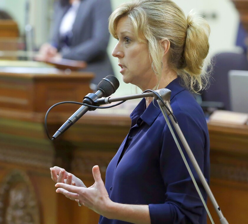 Assemblywoman Christy Smith (D-Santa Clarita) speaks during a session of the California Assembly last June in Sacramento.