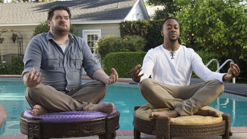 "This image released by CBS shows Bobby Moynihan, left, and Jaleel White in a scene from ""Me, Myself"