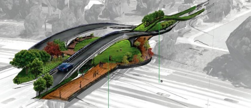 """Balboa Park Experience,"" by David Garcia, Mariano Ramirez and David Harrison of the NewSchool of Architecture and Design, proposes a pedestrian bridge on the Park Boulevard overpass of Interstate 5."