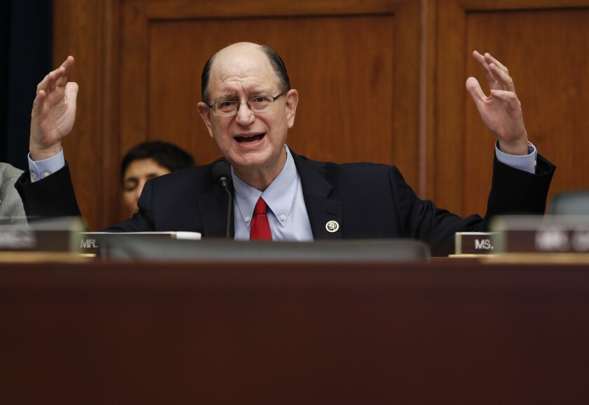 Rep. Brad Sherman (D-Porter Ranch) gestures as he questions Federal Reserve Chairwoman Janet L. Yellen during a House Financial Services Committee hearing Wednesday.