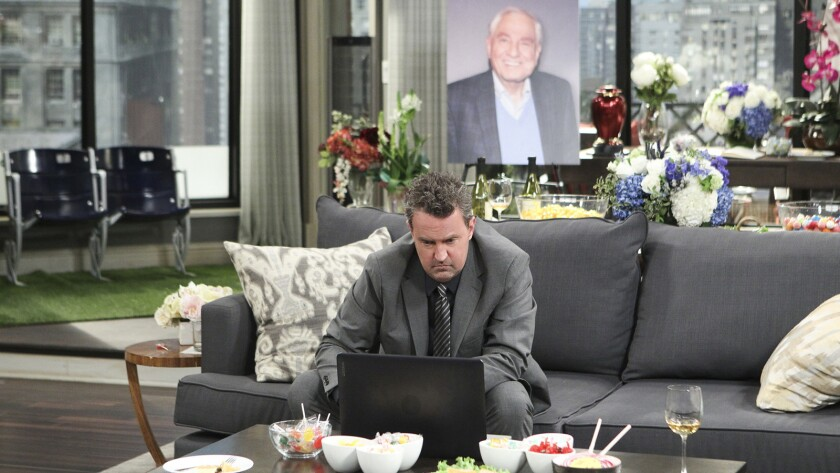 "In mourning, Oscar (Matthew Perry) has one last favor to do for his father (Garry Marshall, pictured) in a special episode of ""The Odd Couple"" on CBS."