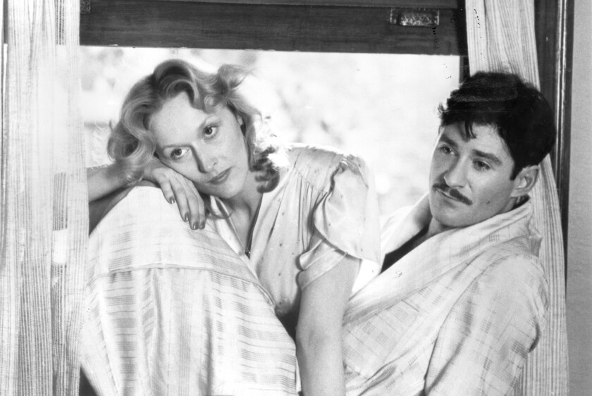 "Meryl Streep and Kevin Kline in a black-and-white still from ""Sophie's Choice"""