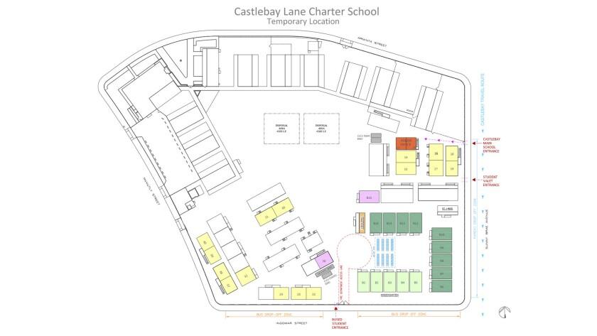 Castlebay Lane Charter's layout at Sunny Brae Elementary