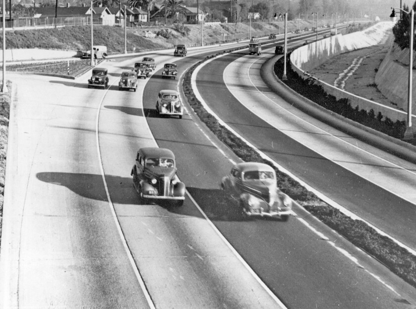 """The Arroyo Seco Parkway, in a 1940 Times file photo, was designed for slower automobiles and today is functionally obsolete, author Nathan Masters argues in """"The Road Taken."""""""