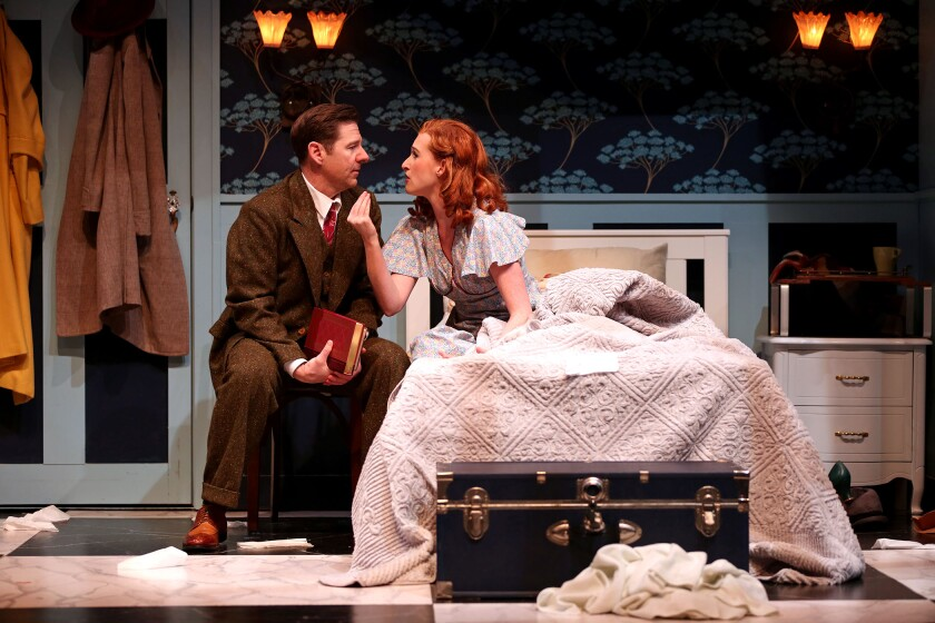 "George Nowack (Brian Vaughn) and Amalia Balish (Erin Mackey) begin to wonder if they don't, in fact, hate each other in ""Vanilla Ice Cream,"" a number in the musical ""She Loves Me,"" currently playing at South Coast Repertory."