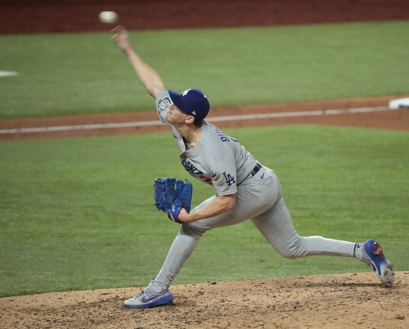 Walker Buehler struck out 10 Rays in six innings during Game 3 of the World Series. (Robert Gauthier/ Los Angeles Times)