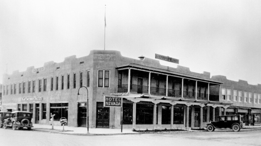 The exterior of the Hotel Nevada in the 1920s