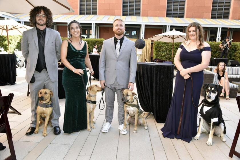 Dog trainers Vince Martell with Lola, Julie McLaughlin with Thistle, Dustin Campbell with Keeta, Alayna DeVelasco with Seth