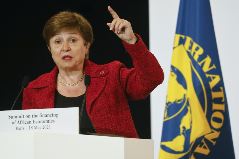 """FILE - In this May 18, 2021 file photo, International Monetary Fund Managing Director Kristalina Georgieva speaks at the end of the Financing of African Economies Summit, in Paris. The governing body of the IMF on Monday, Aug. 2 approved a $650 billion expansion in the agency's resources to support economically vulnerable countries battling the coronavirus pandemic and the economic downturn it has caused. """"This is a historic decision ... and a shot in the arm for the global economy at a time of unprecedented crisis,"""" Georgieva said. """"It will particularly help our most vulnerable countries struggling to cope with the impact of the COVID-19 crisis."""" (Ludovic Marin, Pool via AP, File)"""