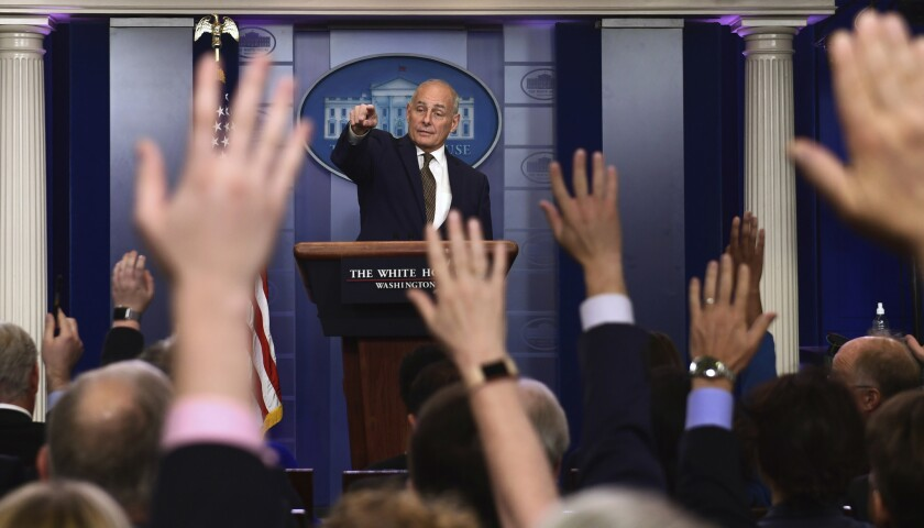 White House Chief of Staff John Kelly calls on a reporter during the daily briefing at the White House in Washington on Oct. 12.