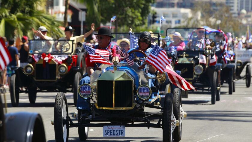 Vintage cars drove down the main parade route for the annual Fourth of July parade in Coronado.