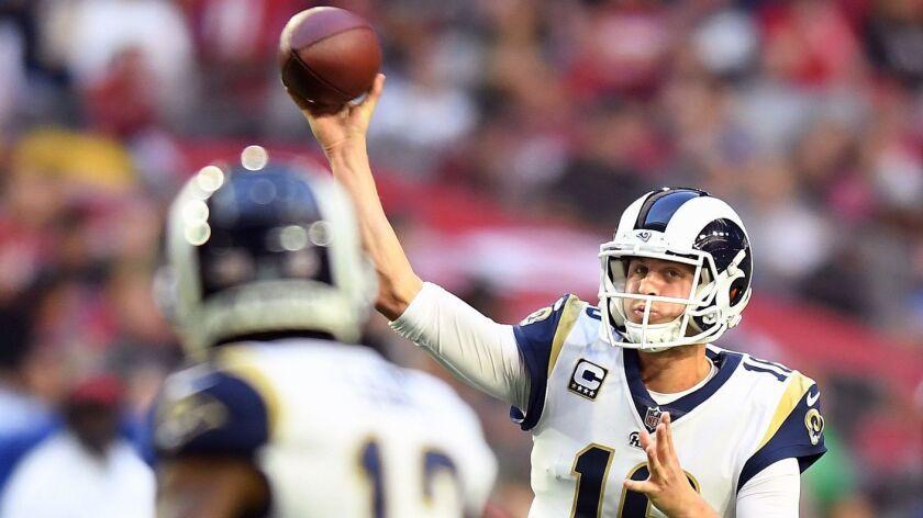 PHOENIX, ARIZONA DECEMBER 23, 2018-Rams quarterback Jared Goff throws a pass against the Cardinals a