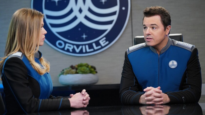 "Adrianne Palicki and Seth MacFarlane in a new episode of the science fiction parody ""The Orville"" on Fox."