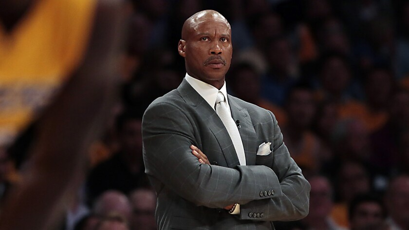 Lakers Coach Byron Scott looks on during a game against the Houston Rockets at Staples Center in October 2014.