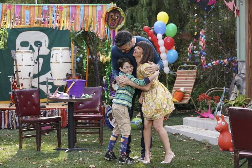 "Antonio Raul Corbo, left, Jaime Camil and Natasha Leggero in ""Broke"" on CBS."