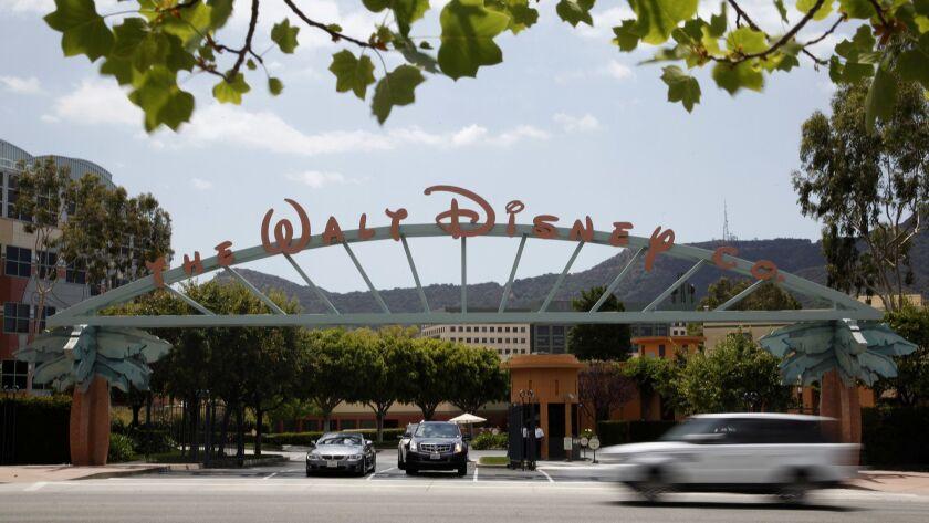 BURBANK CA: May 6, 2014 - The main gate of The Walt Disney Company's headquarters in Burbank. (Katie