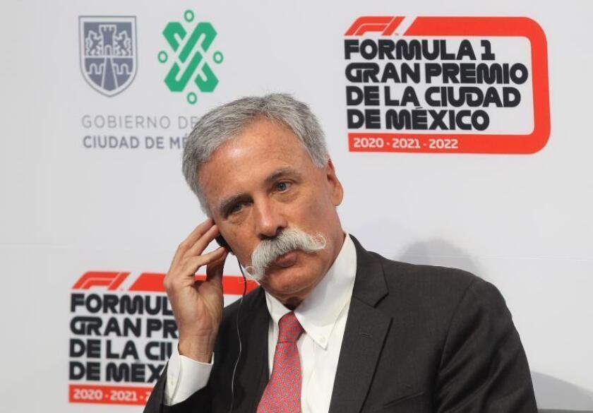 El presidente y director general de la Fórmula Uno, el irlandés Chase Carey, participa en una conferencia de prensa este jueves, en Palacio del Ayuntamiento de la Ciudad de México (México). EFE/ Mario Guzmán