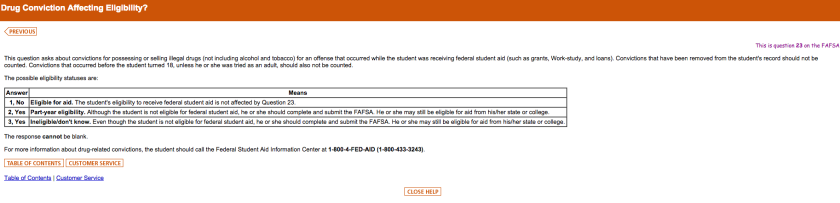 The FAFSA asks students seeking financial aid about their criminal backgrou