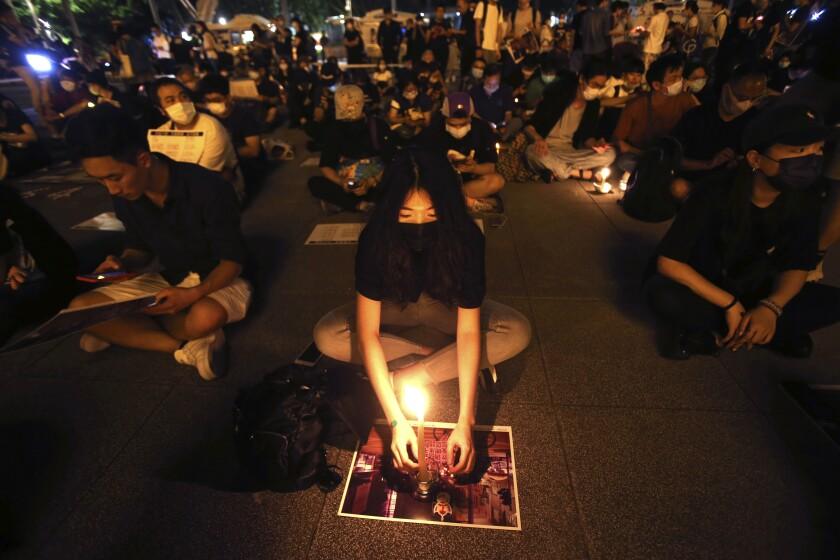 Supporters of Hong Kong and Taiwan protest China's national security legislation for Hong Kong.