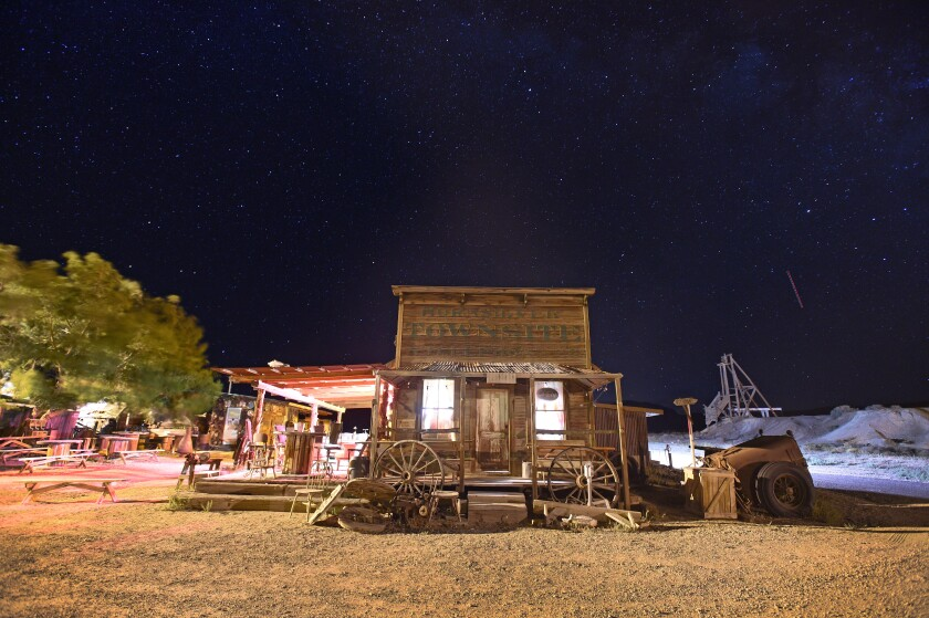 The Horn Silver Saloon is seen under the night sky in Gold Point, Nev.