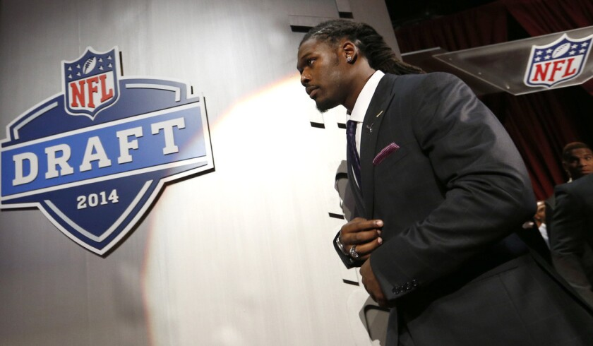 Jadeveon Clowney prepares for the NFL draft in May at New York's Radio City Music Hall. Chicago will be the host city in 2015 because of a conflict in scheduling at Radio City Music Hall.