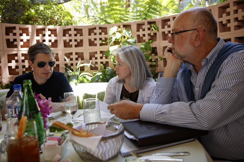 Berggruen, left, meets with Dawn Nakagawa and Nathan Gardels from the Bergg