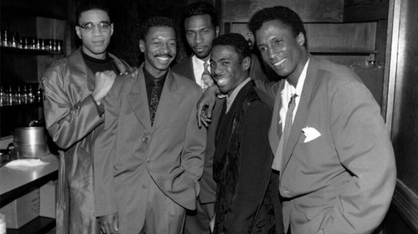 (L-R) - The Five Heartbeats, Harry J. Lennix, Robert Townsend, Leon, Tico Wells and Michael Wright p