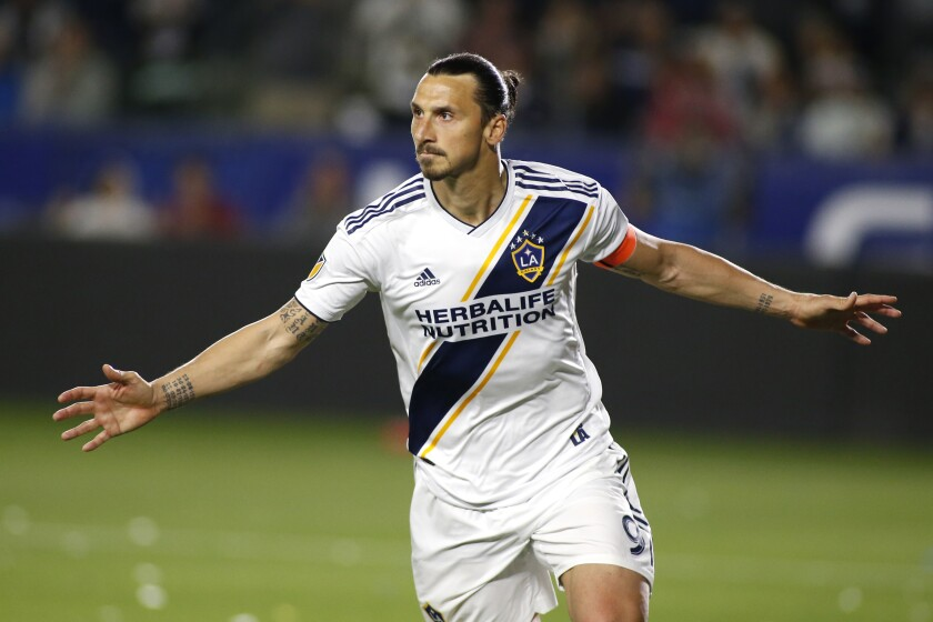 Zlatan Ibrahimovic celebrates his second goal against the Portland Timbers during the second half at Dignity Health Sports Park on March 31 in Carson.