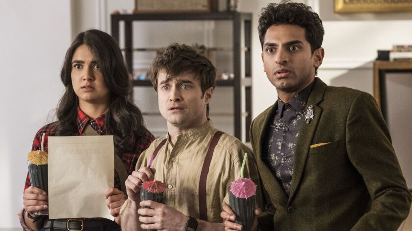 """Miracle Workers"" Ep 105 (L-R) - Geraldine Viswanathan, Daniel Radcliffe and Karan Soni in Episode"