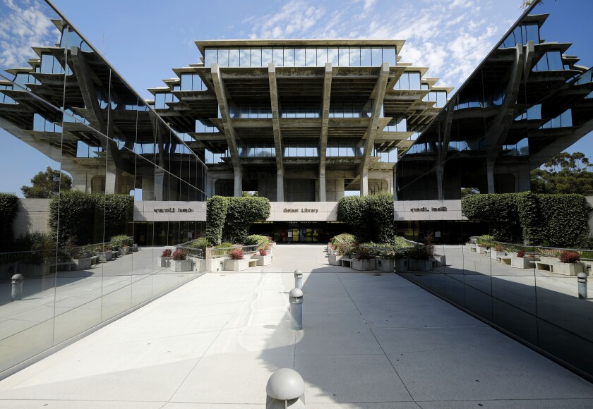 The normally busy Geisel Library at UC San Diego is quiet on Wednesday, Aug. 12, 2020 in San Diego, CA.