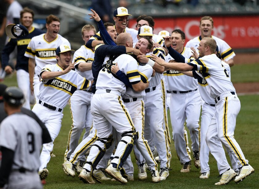 Michigan celebrates a 4-3 win in the NCAA Big Ten tournament championship college baseball game against Maryland, Sunday, May 24, 2015, in Minneapolis. (AP Photo/Hannah Foslien)