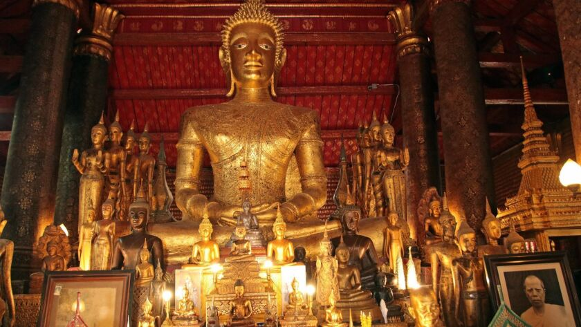 The interior of Wat Mai Temple, founded by a Laotian king in the 18th century and located in the UNE
