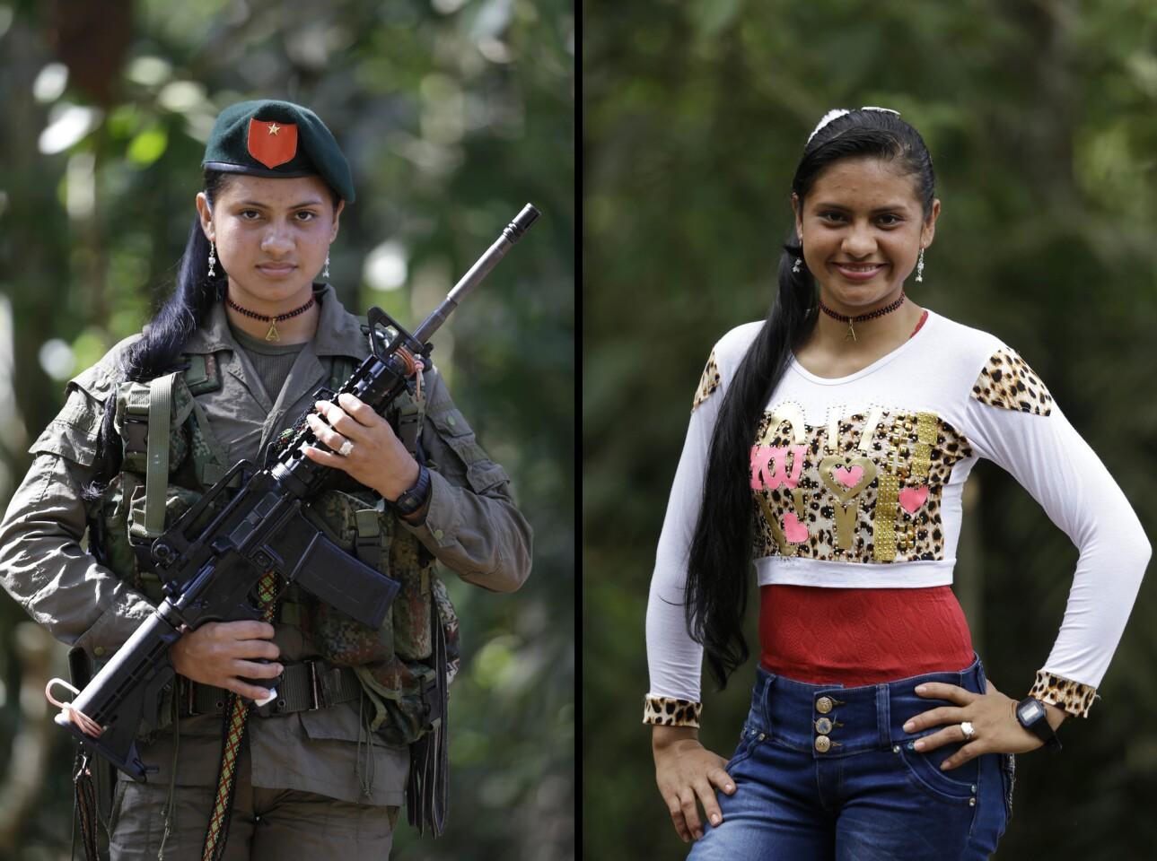 En esta imagen, dos imágenes de Yiceth, una sosteniendo un arma y vestida con el uniforme de las Fuerzas Armadas Revolucionarias de Colombia (FARC), y otra con ropas civiles, en un campo de la guerrilla en Putumayo, Colombia. Yiceth, de 18 años, dice que lleva cuatro años en las FARC y que quiere terminar la educación secundaria para estudiar enfermería tras la desmovilización contemplada en el acuerdo de paz con el gobierno colombiano. (AP Foto/Fernando Vergara)