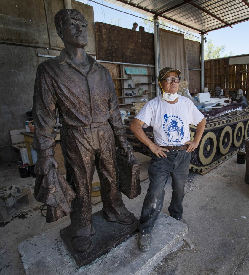 NEWBERRY SPRINGS, CA - MAY 30, 2019: Sculptor Weiming Chen made a life-size aluminum sculpture of Ta