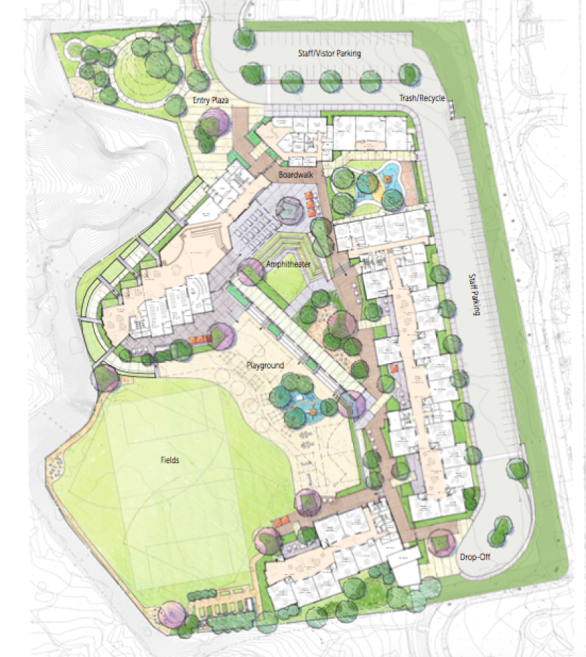 The layout of the new Del Mar Heights School campus.