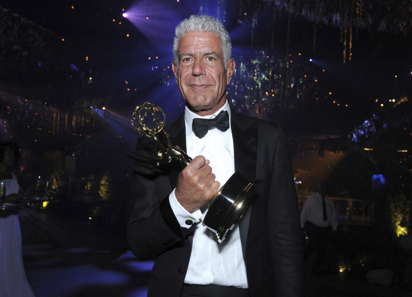 """Anthony Bourdain winner of the award for outstanding informational series or special for """"Anthony Bourdain: Parts Unknown"""" attends the Governors Ball at the Microsoft Theater in Los Angeles in 2016."""