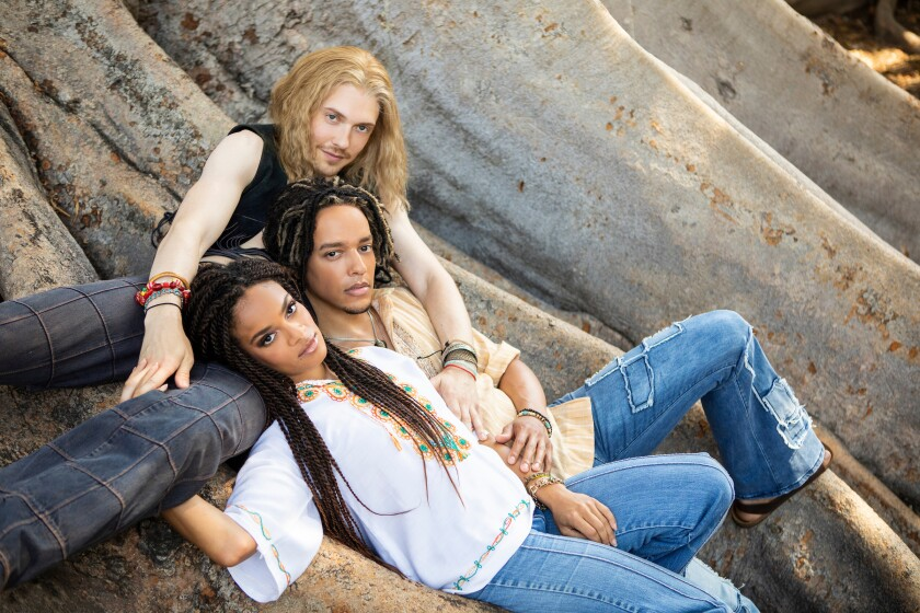 """Andrew Polec, top, Tyler Hardwick and Storm Lever lead the cast of the musical """"Hair"""" at the Old Globe this summer."""