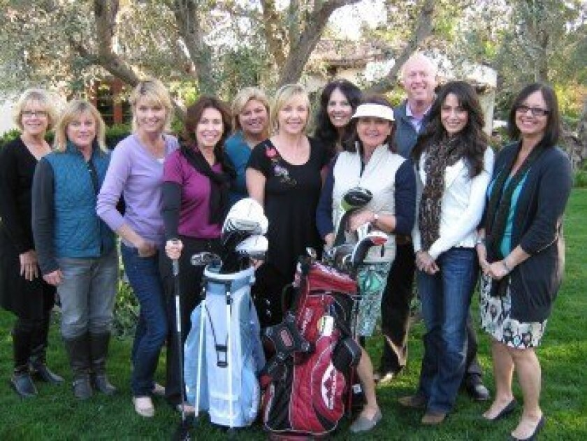 "Volunteers are getting ready for the 8th annual ""Tee It Up For Foster Teens"" golf tournament, auction and dinner that will be held on April 23.  Funds raised from this fun event will support the foster teens of San Pasqual Academy.  Pictured left to right are:  Donna Schempp, Madeline Javelet, Kare"