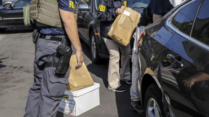 "FBI investigators took bags and boxes of materials from Los Angeles City Councilman Jose Huizar's residence last week. One of those boxes was marked ""Fundraising."""